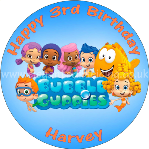 BUBBLE GUPPIES BLUE ROUND PERSONALISED EDIBLE CAKE TOPPER